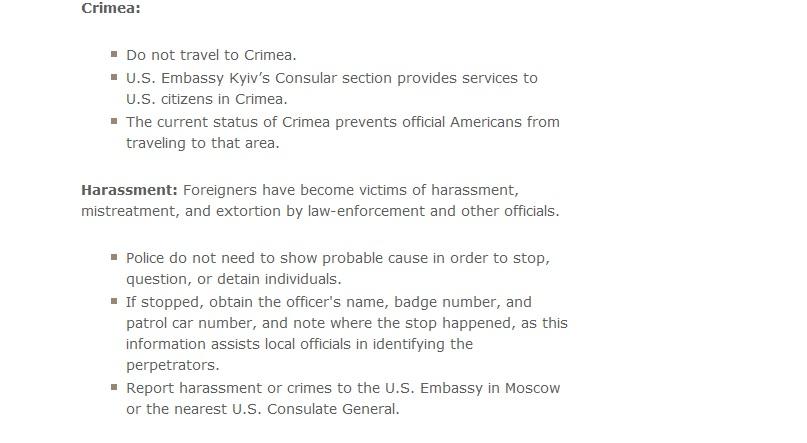 Госдеп США приравнял Крым кЧечне поопасности для американцев