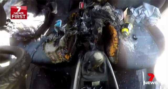 Взрывается iPhone 7, что приводит ксгоранию части автомобиля