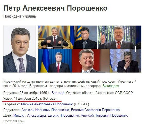 Новый День: Яндекс: Данные о смерти Порошенко поступили из открытых источников