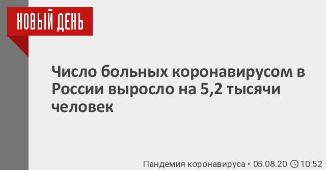 Число больных коронавирусом в России выросло на 5,2 тысячи человек